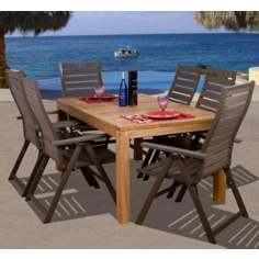 Amazonia 7-Piece Teak/Faux Wood Helsinki Outdoor Dining Set