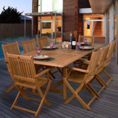 Amazonia 9-Piece Teak Hamburg Outdoor Dining Set