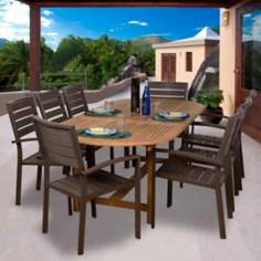 Amazonia 9-Piece Teak/Faux Wood Ancara Outdoor Dining Set