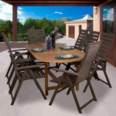 Amazonia 9-Piece Teak/Faux Wood San Marino Dining Set