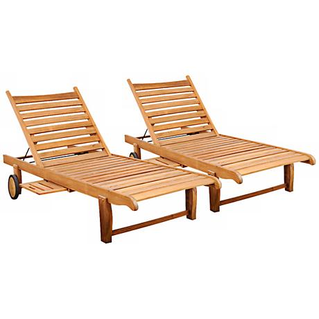Amazonia 2-Piece Teak Cairo Outdoor Loungers Set