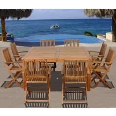 Amazonia 9-Piece Teak Dubai Outdoor Square Dining Set