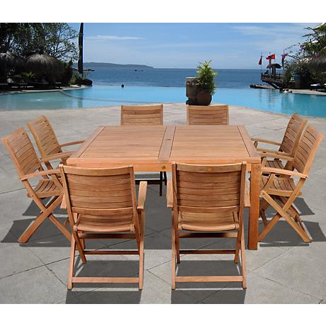 Amazonia 9-Piece Teak Boynton Outdoor Square Dining Set