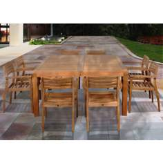 Amazonia 9-Piece Teak Victoria Outdoor Square Dining Set