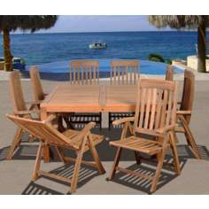 Amazonia 9-Piece Teak Eiffel Outdoor Square Dining Set