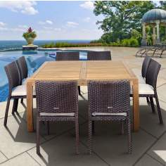 Amazonia 9-Piece Teak Georgia Outdoor Square Dining Set