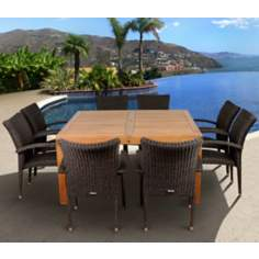 Amazonia 9-Piece Teak Versailles Outdoor Square Dining Set
