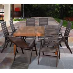 Amazonia 9-Piece Teak Tucson Outdoor Square Dining Set