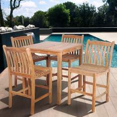 Amazonia 5-Piece Teak Eden Outdoor Bar Set