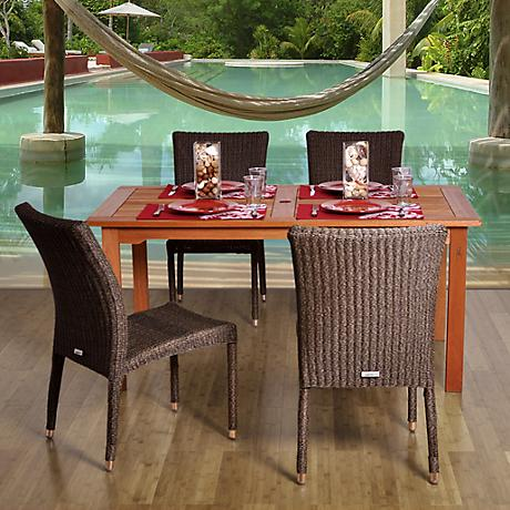 Amazonia Brugge Wicker Rectangular 5-Piece Patio Dining Set