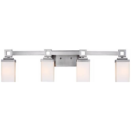 "Nelio 33 1/2"" Wide 4-Light Pewter Opal Glass Bath Light"