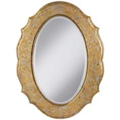 "Paloma Oval 31 1/2"" High Marbled Silver and Gold Wall Mirror"
