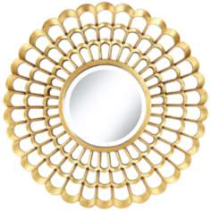 "Chrysanthemum 30"" Round Gold Mirror"