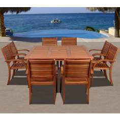 Amazonia 9-Piece Arizona Eucalyptus Square Dining Set