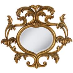 "Venus Openwork 35 1/4"" Wide Antique Gold Wall Mirror"