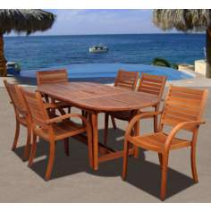 Amazonia 7-Piece Arizona Eucalyptus Oval Dining Set