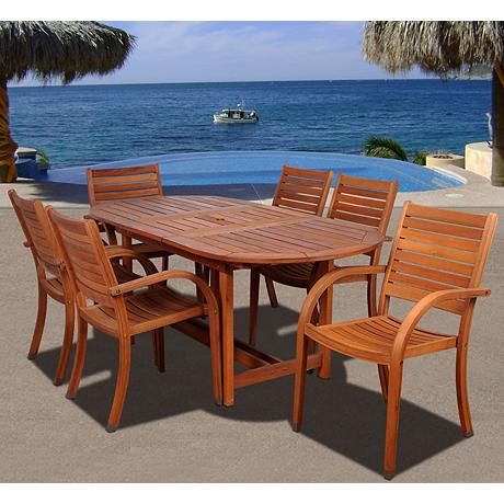 amazonia arizona 7 piece eucalyptus outdoor oval dining set x6269. Black Bedroom Furniture Sets. Home Design Ideas