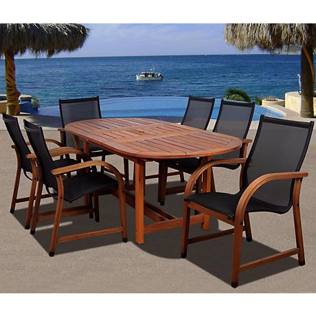 Amazonia Bahamas Eucalyptus Oval 7-Piece Patio Dining Set
