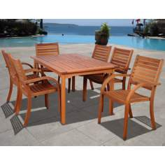 Amazonia 7-Piece Arizona Eucalyptus Rectangular Dining Set