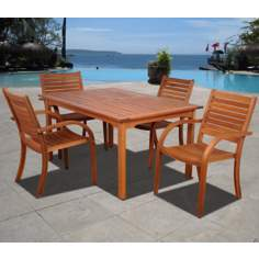Amazonia 5-Piece Arizona Eucalyptus Rectangular Dining Set