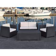 Atlantic Rimini Grey PVC Wicker Outdoor Living Set