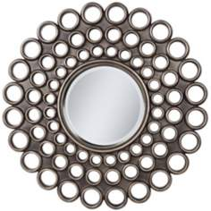 "Echo Circle Openwork 31 1/2"" Round Bronze Wall Mirror"
