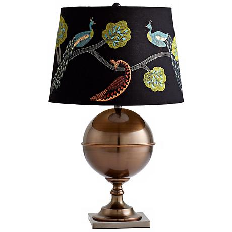 Bronze Vanderbilt Embroidered Shade Table Lamp