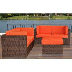 Atlantic Nice Conversation Orange Outdoor Seating Set