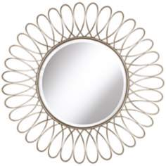 "Metal Silver Petal 37 1/2"" High Round Wall Mirror"