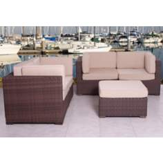 Atlantic Nice Conversation Antique Beige Outdoor Seating Set
