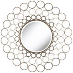 "Metal Silver Circle 38 1/2"" High Round Wall Mirror"