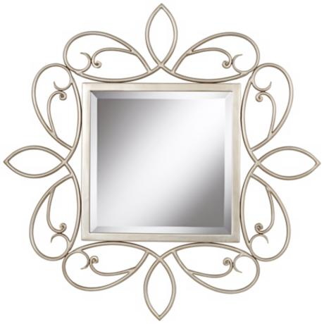 "Champagne Scroll 30"" Square Silver Wall Mirror"