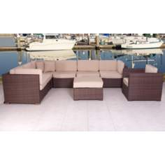 Atlantic Marseille 8-Piece Antique Beige Outdoor Sectional