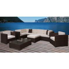 Atlantic Southampton 9-Piece Off-White Outdoor Sectional