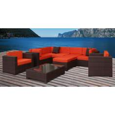 Atlantic Southampton 9-Piece Orange Outdoor Sectional
