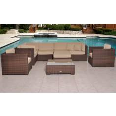 Atlantic Southampton 9-Piece Antique Beige Outdoor Sectional