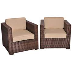 Atlantic Bellagio 2-Piece Antique Beige Outdoor Armchair