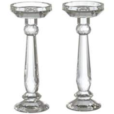 Set of 2 Facets Crystal Candle Holders