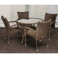 Atlantic Bari 5-Piece Gray and Beige Outdoor Dining Set