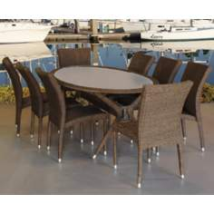 Atlantic Bari 9-Piece Gray and Beige Outdoor Dining Set
