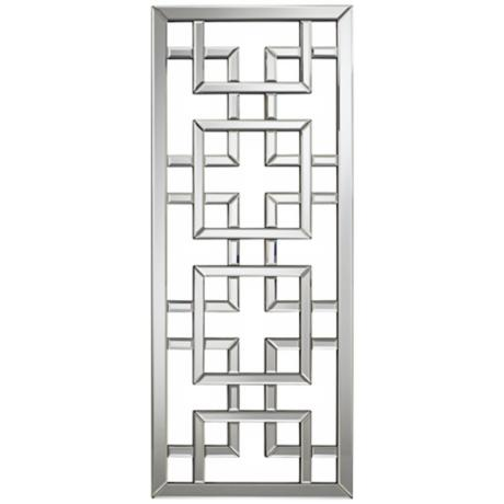 "Asian Screen 44"" High Rectangular Openwork Wall Mirror"