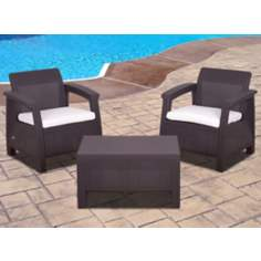 Atlantic Corfu 3-Piece Brown Conversation Set