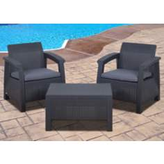 Atlantic Corfu 3-Piece Gray Outdoor Conversation Set