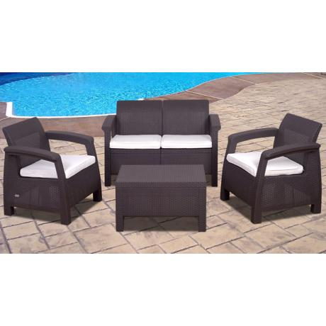 Atlantic Corfu 4-Piece Brown Outdoor Conversation Set
