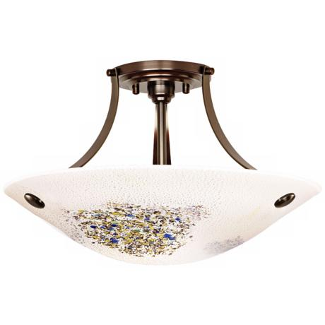 "LBL Veneto Bronze Opal Glass 16 1/2"" Wide Ceiling Light"