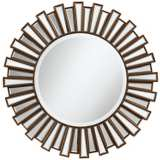 "Golden Sunburst 30"" Round Wall Mirror"