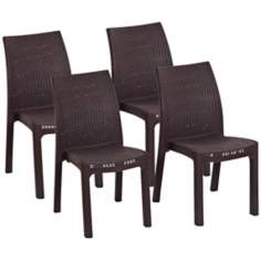 Atlantic Corfu Set of 4 Brown Stacking Dining Chairs