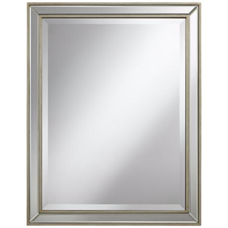 "Beveled 32"" High Antique Silver Wilton Wall Mirror"