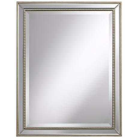 "Beaded 32"" High Antique Silver Wilton Wall Mirror"