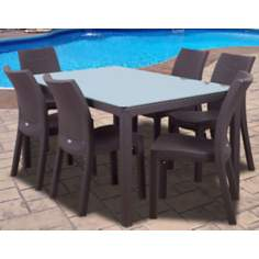 Atlantic Corfu 7-Piece Brown Rectangular Outdoor Dining Set